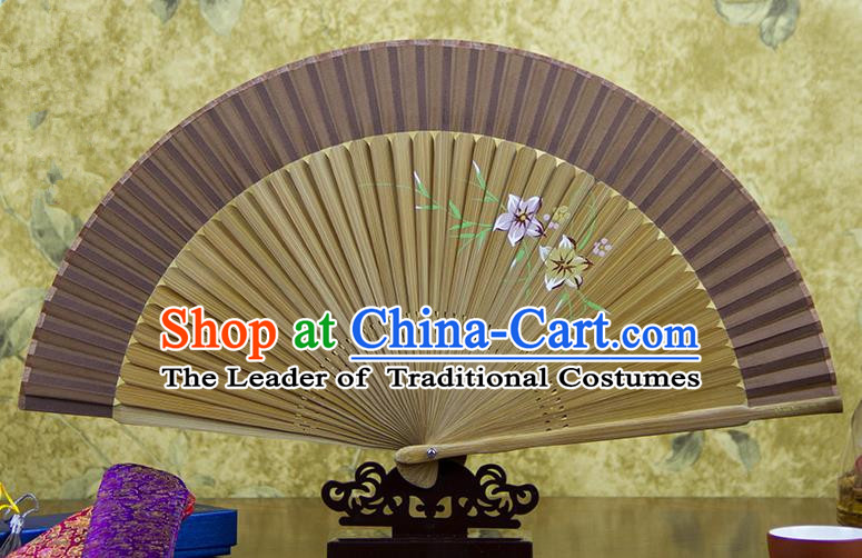 Traditional Chinese Handmade Crafts Hand Painting Flowers Folding Fan, China Classical Brown Sensu Silk Fan Hanfu Fans for Women