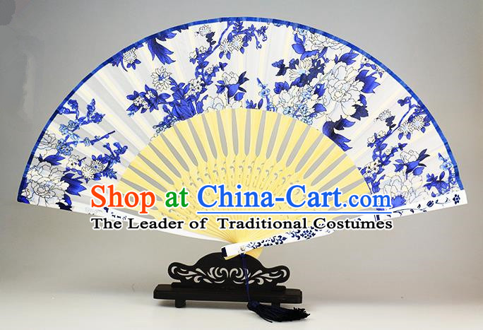 Traditional Chinese Handmade Crafts Blue and White Porcelain Folding Fan, China Classical Peony Sensu Silk Fan Hanfu Fans for Women