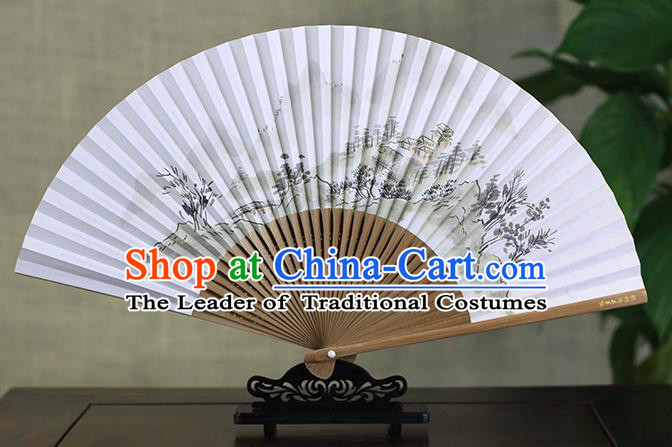 Traditional Chinese Handmade Crafts Ink Painting Mountains Scenery Folding Fan, China Classical Art Paper Sensu Xuan Paper Fan Hanfu Fans for Men