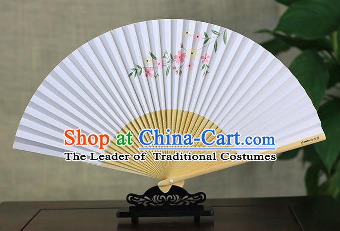 Traditional Chinese Handmade Crafts Ink Painting Flowers Folding Fan, China Classical Art Paper Sensu Xuan Paper Fan Hanfu Fans for Men