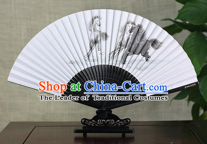Traditional Chinese Handmade Crafts Ink Painting Horses Folding Fan, China Classical Art Paper Sensu Xuan Paper Fan Hanfu Fans for Men
