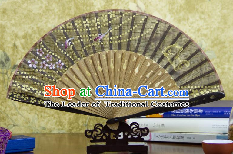 Traditional Chinese Handmade Crafts Printing Flower Bamboo Folding Fan, China Classical Linen Sensu Grey Fan Hanfu Fans for Women