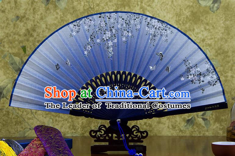 Traditional Chinese Handmade Crafts Printing Flower Folding Fan, China Classical Linen Sensu Blue Fan Hanfu Fans for Women