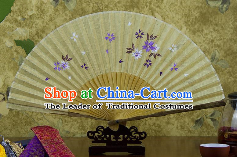 Traditional Chinese Handmade Crafts Printing Flower Folding Fan, China Classical Linen Sensu Yellow Fan Hanfu Fans for Women