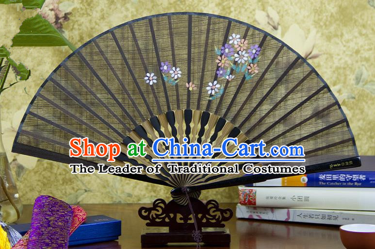 Traditional Chinese Handmade Crafts Printing Flower Folding Fan, China Classical Linen Sensu Coffee Fan Hanfu Fans for Women