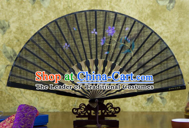 Traditional Chinese Handmade Crafts Printing Flower Folding Fan, China Classical Linen Sensu Black Fan Hanfu Fans for Women