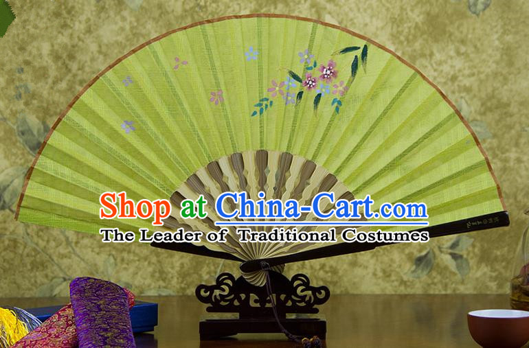 Traditional Chinese Handmade Crafts Printing Flower Folding Fan, China Classical Linen Sensu Bright Yellow Fan Hanfu Fans for Women