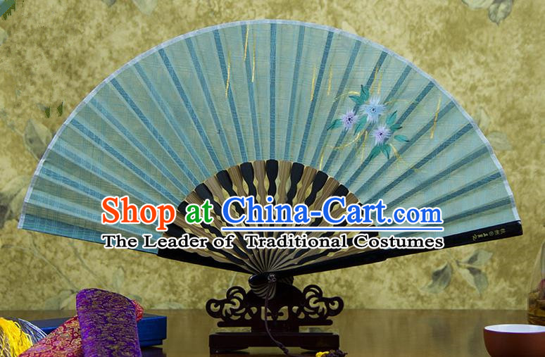 Traditional Chinese Handmade Crafts Printing Flower Folding Fan, China Classical Linen Sensu Green Fan Hanfu Fans for Women