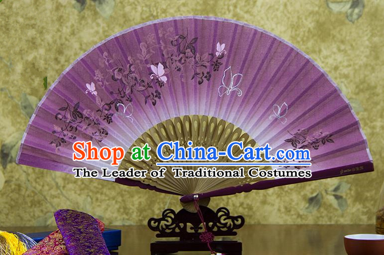 Traditional Chinese Handmade Crafts Printing Flower Folding Fan, China Classical Linen Sensu Lilac Fan Hanfu Fans for Women