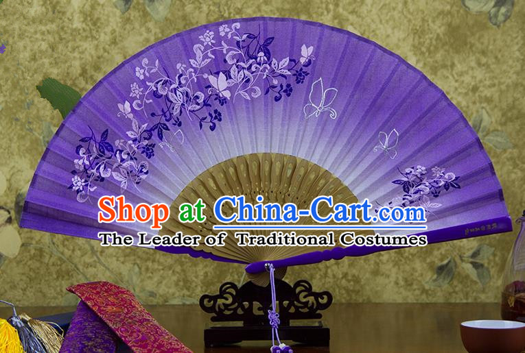 Traditional Chinese Handmade Crafts Printing Flower Folding Fan, China Classical Linen Sensu Purple Fan Hanfu Fans for Women