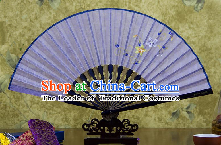 Traditional Chinese Handmade Crafts Printing Flower Folding Fan, China Classical Linen Sensu Light Purple Fan Hanfu Fans for Women