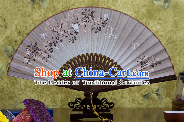 Traditional Chinese Handmade Crafts Printing Flower Folding Fan, China Classical Linen Sensu Brown Fan Hanfu Fans for Women