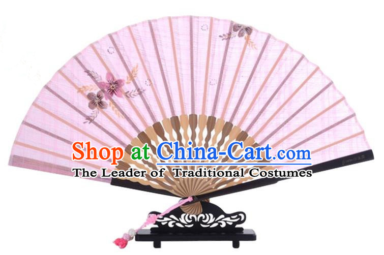 Traditional Chinese Handmade Crafts Printing Flower Folding Fan, China Classical Linen Sensu Pink Fan Hanfu Fans for Women
