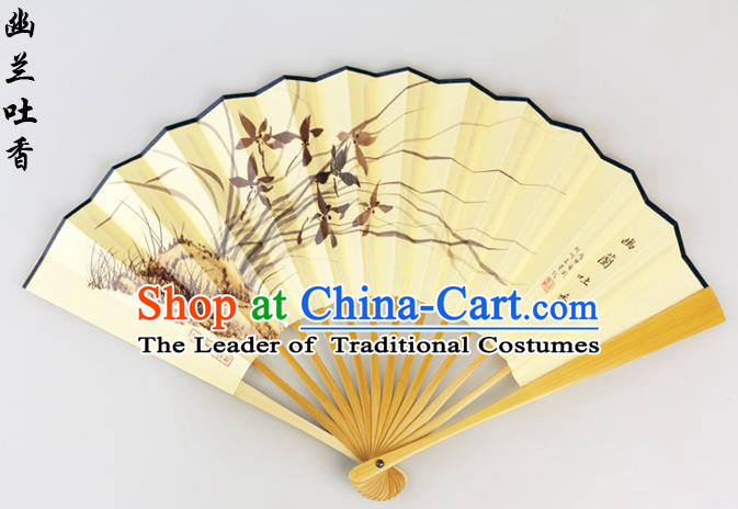 Traditional Chinese Handmade Crafts Pure Silk Folding Fan, China Classical Sensu Ink Painting Orchid Fan Hanfu Fans for Men