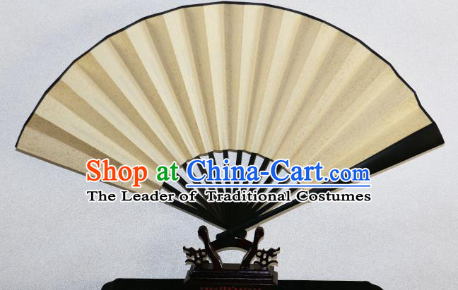 Traditional Chinese Handmade Crafts Xuan Paper Folding Fan, China Classical Art Paper Sensu Codiaeum Fan Hanfu Fans for Men