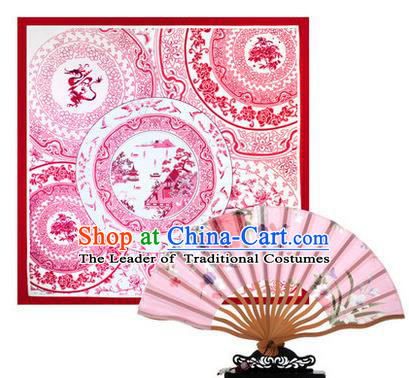Traditional Chinese Handmade Crafts Silk Folding Fan and Scarves, China Classical Pink Sensu Peach Blossom Fan Hanfu Fans for Women