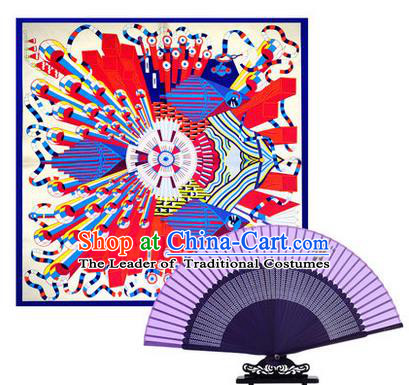 Traditional Chinese Handmade Crafts Silk Folding Fan and Scarves, China Classical Lilac Sensu Peach Blossom Fan Hanfu Fans for Women