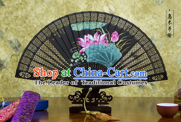 Traditional Chinese Handmade Crafts Ebomy Folding Fan, China Classical Hand Painting Lotus Sensu Hollow Out Fan Hanfu Fans for Women