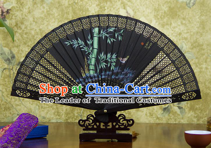 Traditional Chinese Handmade Crafts Ebomy Folding Fan, China Classical Hand Painting Bamboo Sensu Hollow Out Fan Hanfu Fans for Women