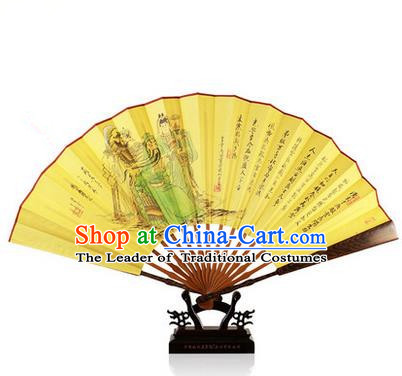 Traditional Chinese Handmade Crafts Folding Fan, China Classical Hand Painting Silk Sensu Door Frame Fan Hanfu Fans for Men