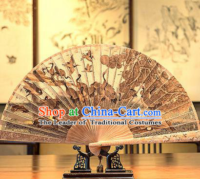 Traditional Chinese Handmade Crafts India Sandalwood Folding Fan Collectibles, China Classical Hollow out Sensu Cranes Fan Hanfu Fans for Men