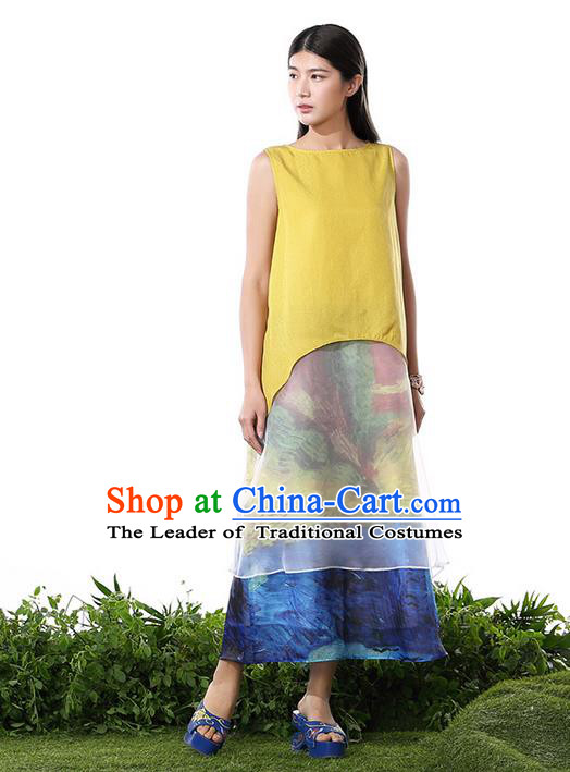 Traditional Chinese Costume Elegant Hanfu Printing Silk Dress, China Tang Suit Cheongsam Yellow Qipao Dress Clothing for Women