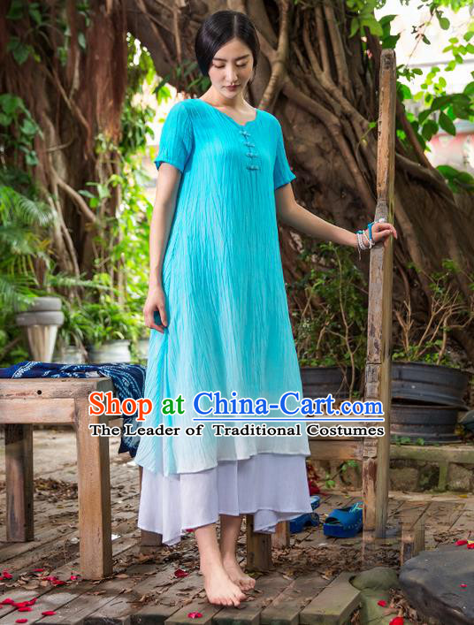 Traditional Chinese Costume Elegant Hanfu Linen Dress, China Tang Suit Cheongsam Blue Qipao Dress Clothing for Women