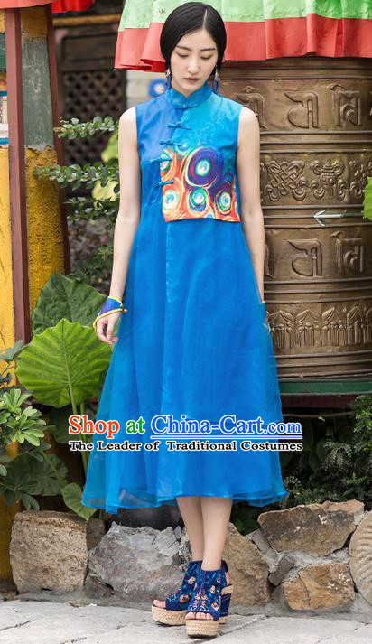 Traditional Chinese Costume Elegant Hanfu Printing Dress, China Tang Suit Plated Buttons Cheongsam Blue Qipao Dress Clothing for Women