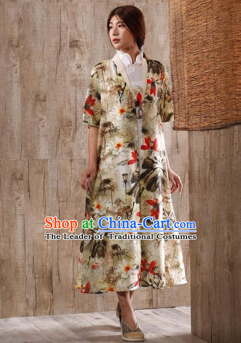 Traditional Chinese Costume Elegant Hanfu Printing Flowers Coats, China Tang Suit Long Dust Coat Clothing for Women
