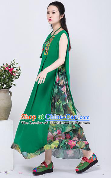 Traditional Chinese Costume Elegant Hanfu Printing Lotus Linen Dress, China Tang Suit Cheongsam Green Qipao Dress Clothing for Women