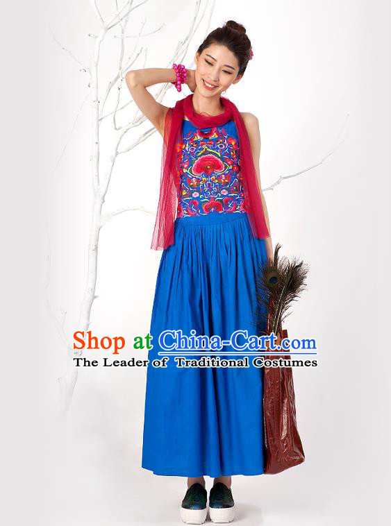 Traditional Chinese Costume Elegant Hanfu Embroidered Flowers Slip Dress, China Tang Suit Blue Camisole Dress Clothing for Women