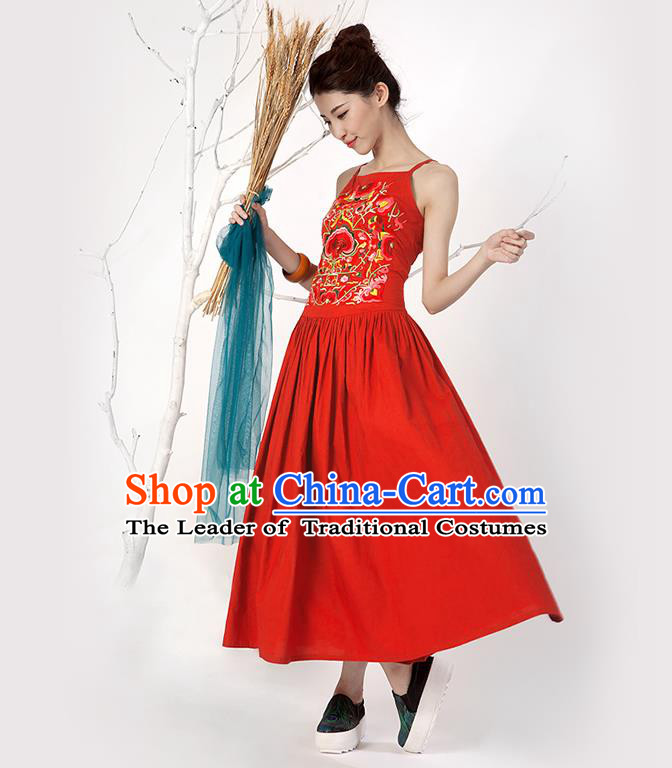 Traditional Chinese Costume Elegant Hanfu Embroidered Flowers Slip Dress, China Tang Suit Red Camisole Dress Clothing for Women