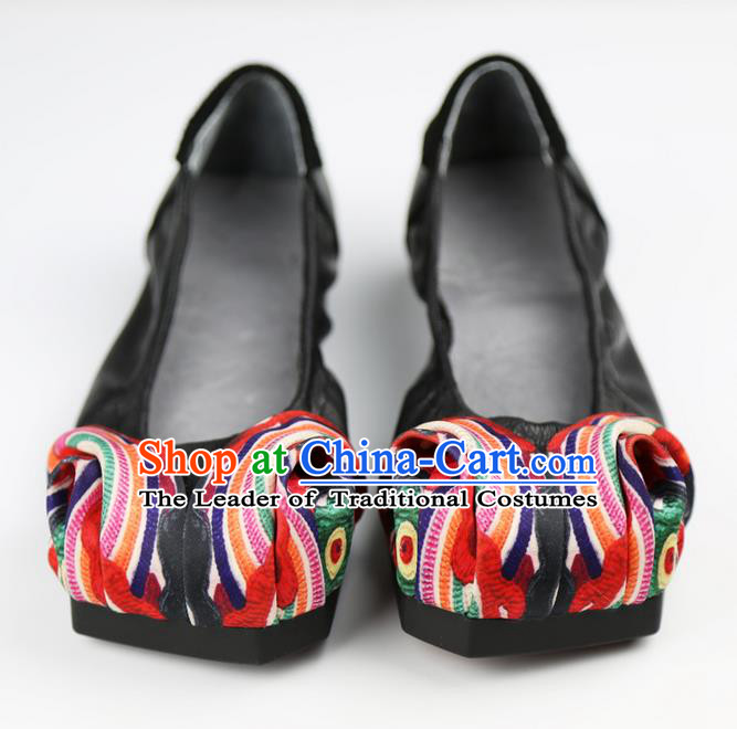 Traditional Chinese Shoes Embroidered Shoes Black Cow Leather Shoes Hanfu Shoes for Women
