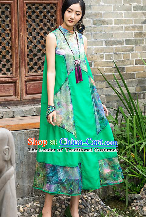 Traditional Chinese Costume Elegant Hanfu Printing Flowers Green Dress, China Tang Suit Cheongsam Qipao Dress Clothing for Women