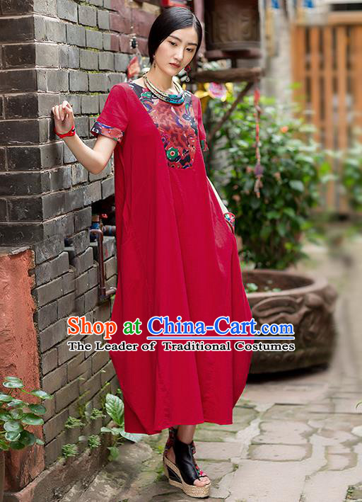 Traditional Chinese Costume Elegant Hanfu Printing Flowers Red Dress, China Tang Suit Linen Qipao Dress Clothing for Women