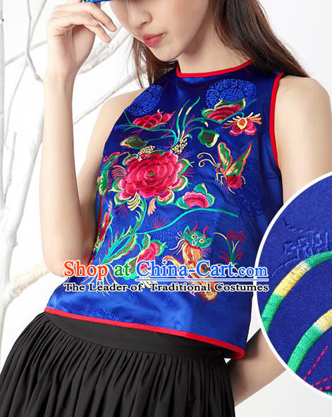 Traditional Ancient Chinese National Costume, Elegant Hanfu Bellyband Shirt, China Tang Suit Embroidery Undergarment Blouse Blue Camisole Shirts Clothing for Women