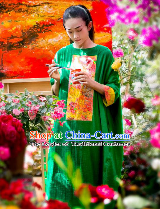 Traditional Chinese Costume Elegant Hanfu Embroidered Flowers Linen Dress, China Tang Suit Cheongsam Upper Outer Garment Qipao Green Dress Clothing for Women