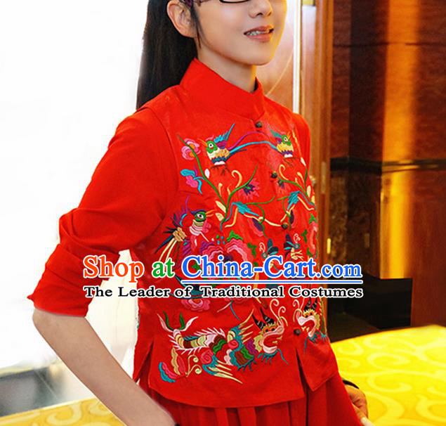 Traditional Ancient Chinese National Costume, Elegant Hanfu Shirt, China Tang Suit Embroidery Undergarment Blouse Red Vest Clothing for Women