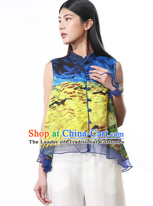 Traditional Ancient Chinese National Costume, Elegant Hanfu T-Shirt, China Tang Suit Printing Blouse Plated Buttons Shirt for Women