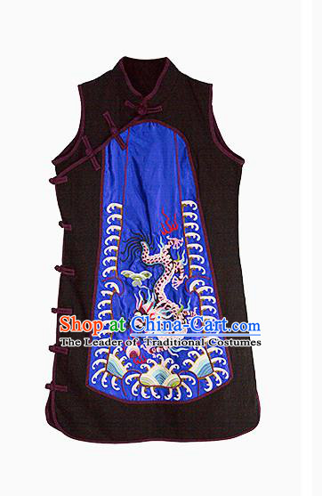 Traditional Ancient Chinese National Costume, Elegant Hanfu Shirt, China Tang Suit Embroidery Blouse Blue Long Vest Clothing for Women