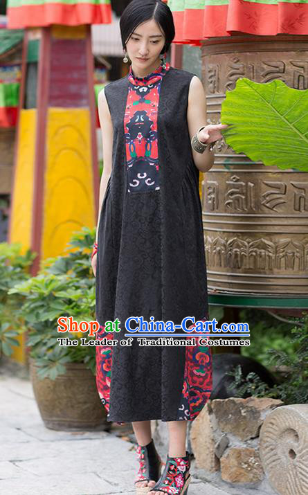 Traditional Chinese Costume Elegant Hanfu Jacquard Weave Dress, China Tang Suit Printing Qipao Black Dress Clothing for Women