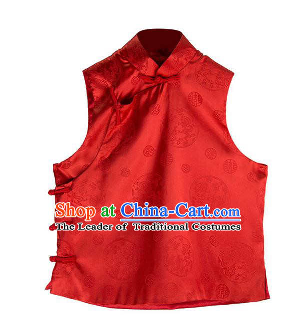 Traditional Ancient Chinese National Costume, Elegant Hanfu Shirt, China Tang Suit Embroidery Red Blouse Vest Clothing for Women