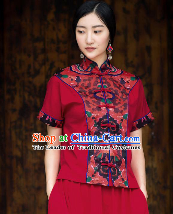Traditional Ancient Chinese National Costume, Elegant Hanfu Red Shirt, China Tang Suit Cheongsam Blouse Plated Buttons Shirt for Women