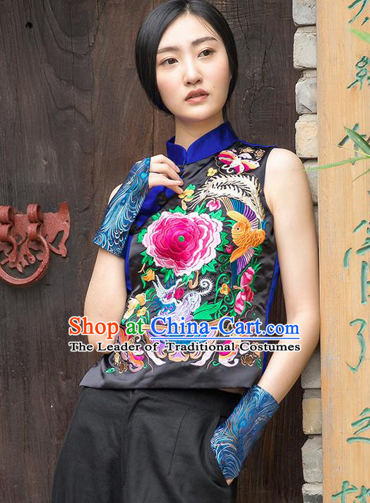 Traditional Ancient Chinese National Costume, Elegant Hanfu Embroidered Shirt, China Tang Suit Blouse Blue Plated Buttons Vest for Women