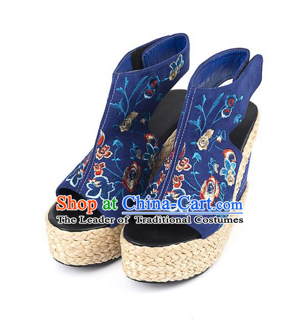 Traditional Chinese Shoes Wedding Shoes Embroidered Shoes Blue Slipsole Shoes Hanfu Shoes for Women
