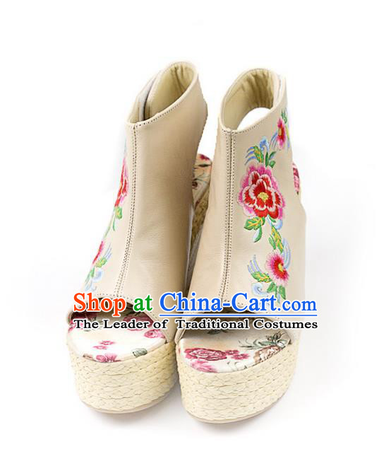 Traditional Chinese Shoes Wedding Shoes Embroidered Shoes White Slipsole Shoes Hanfu Sheepskin Shoes for Women