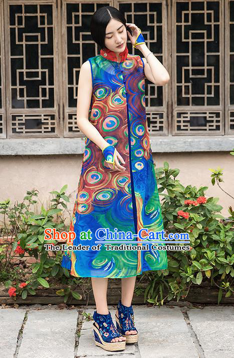 Traditional Chinese Costume Elegant Hanfu Printing Peacock Pattern Green Dress, China Tang Suit Cheongsam Qipao Plated Buttons Dress Clothing for Women