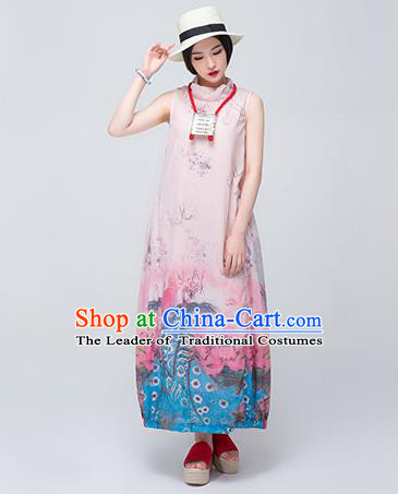 Traditional Chinese Costume Elegant Hanfu Printing Linen Dress, China Tang Suit Cheongsam Qipao Pink Dress Clothing for Women
