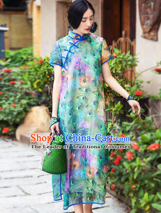 Traditional Chinese Costume Elegant Hanfu Printing Flowers Green Dress, China Tang Suit Cheongsam Silk Qipao Plated Buttons Dress Clothing for Women