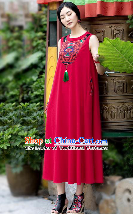 Traditional Chinese Costume Elegant Hanfu Printing Flowers Red Dress, China Tang Suit Cheongsam Linen Qipao Dress Clothing for Women